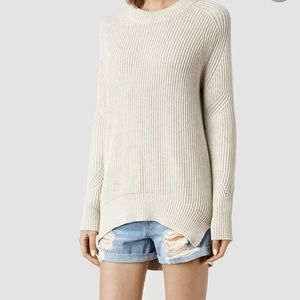 ALL SAINTS Quinta Cotton Sweater, Ash Marl, Medium